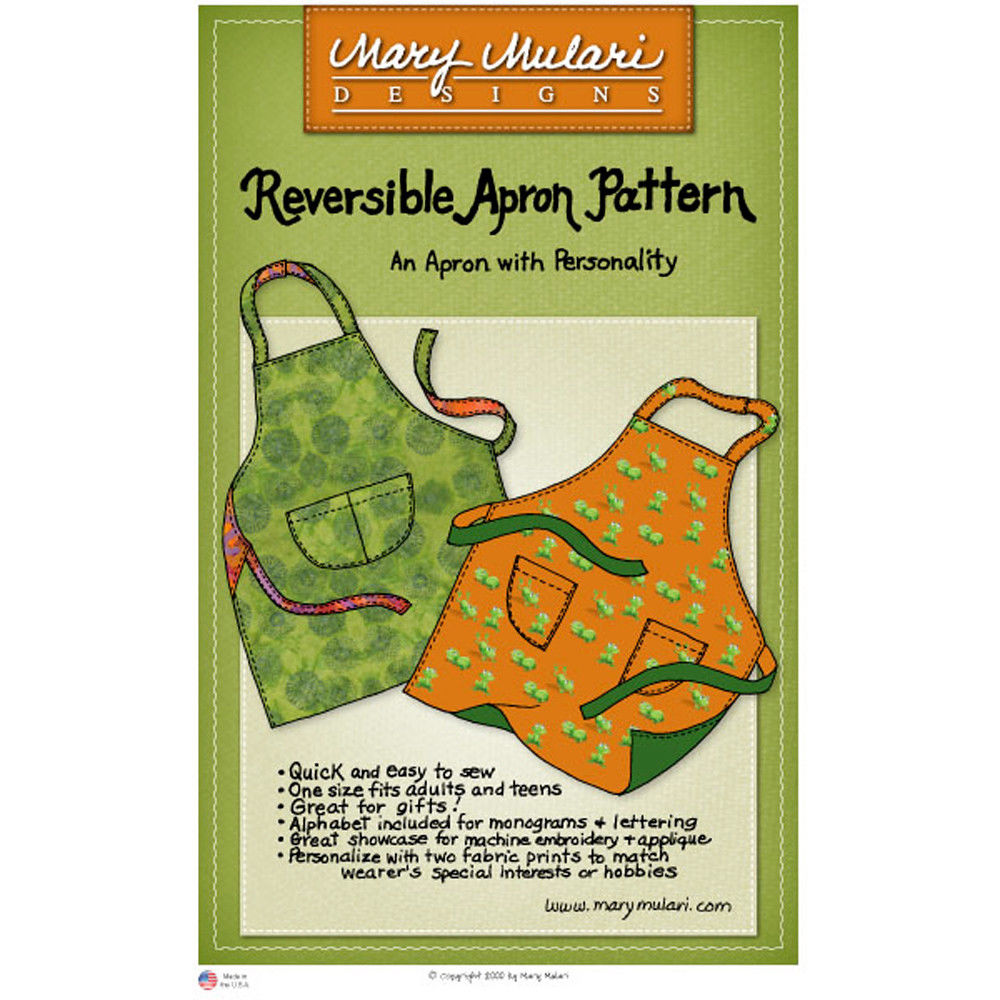 "MARY MULARI DESIGNS ""REVERSIBLE APRON"" Sewing Pattern"