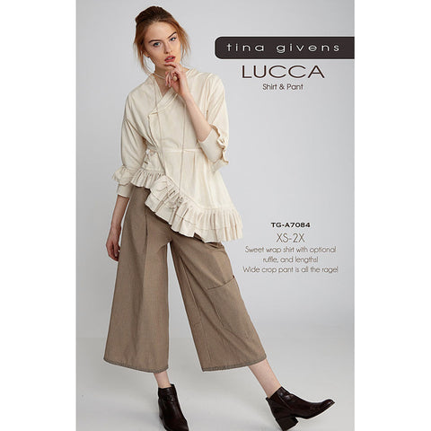 "TINA GIVENS ""LUCCA SHIRT JACKET & CROP PANT"" Sewing Pattern"