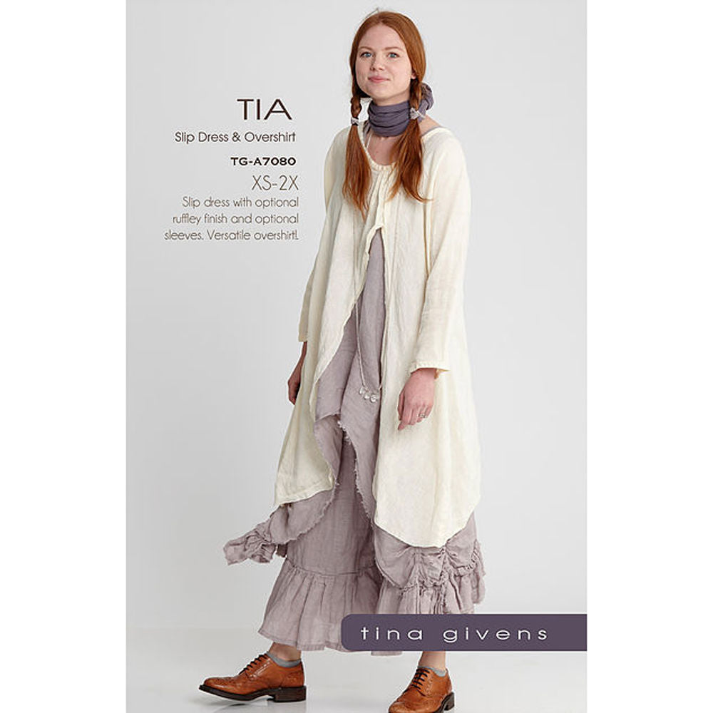 "TINA GIVENS ""TIA SLIP DRESS & OVERSHIRT"" Sewing Pattern"