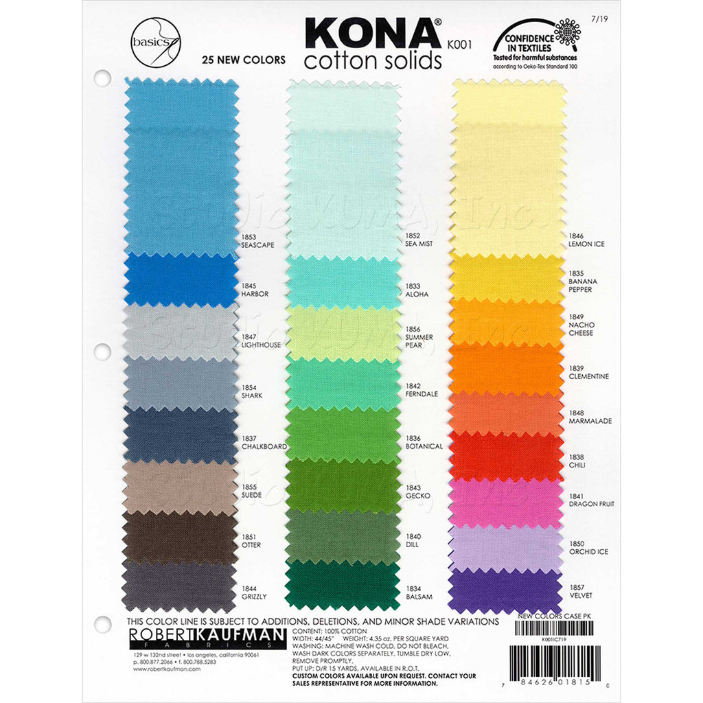 "ROBERT KAUFMAN ""KONA COTTON SOLIDS"" COLOR CARD 25 NEW colors Add On!"