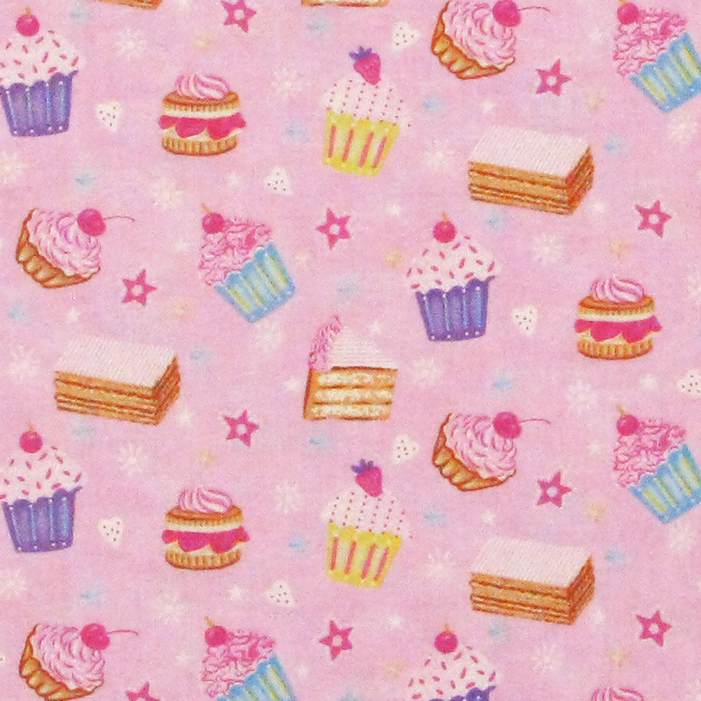 "NORTHCOTT ""TEA TIME FAIRIES"" CAKES Pink by 1/2 yard"