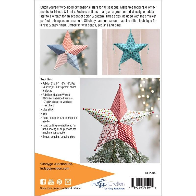 "INDYGO JUNCTION ""TREE TOPPER & ORNAMENT"" Dimensional Paper Piecing Pattern"