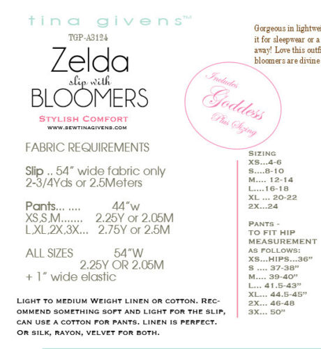 "TINA GIVENS ""ZELDA SLIP & BLOOMERS"" Sewing Pattern"