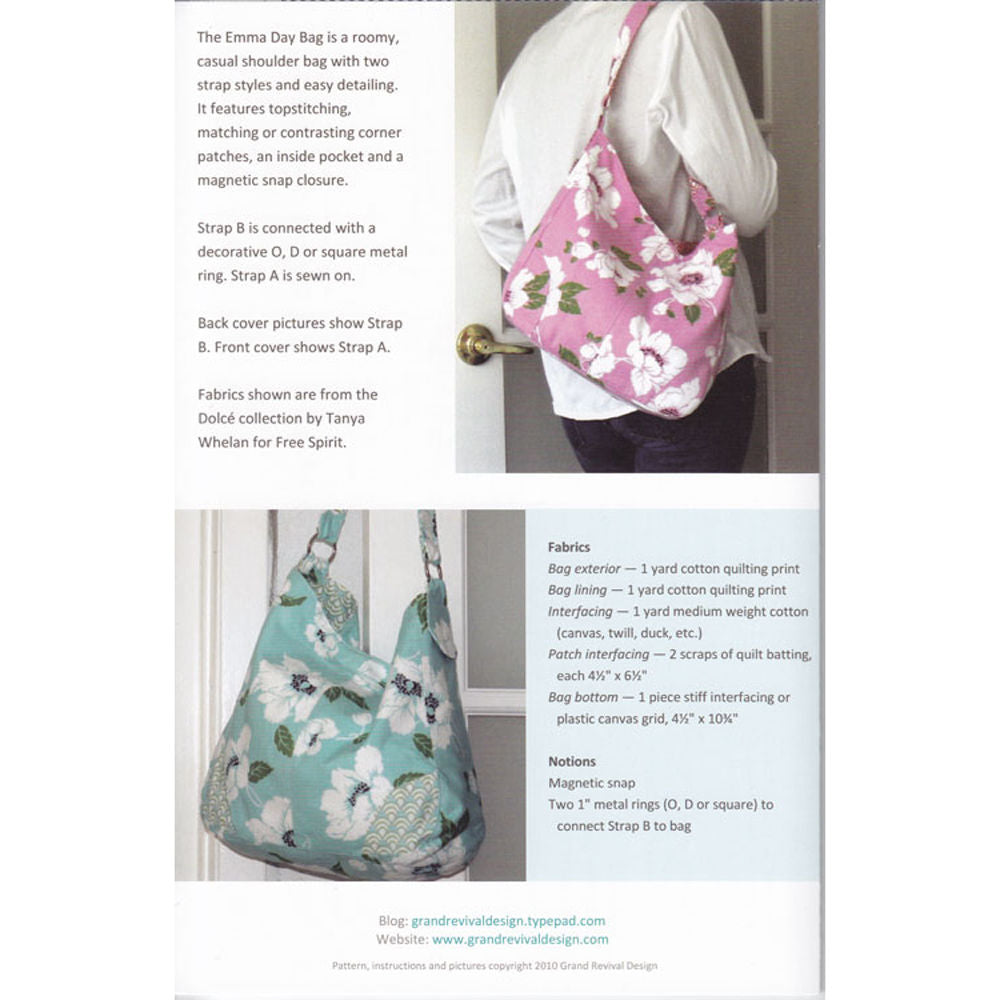 "GRAND REVIVAL ""EMMA DAY BAG"" Sewing Pattern"