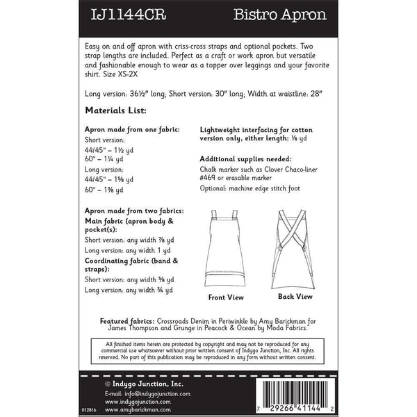 "INDYGO JUNCTION ""BISTRO APRON"" Sewing Pattern"