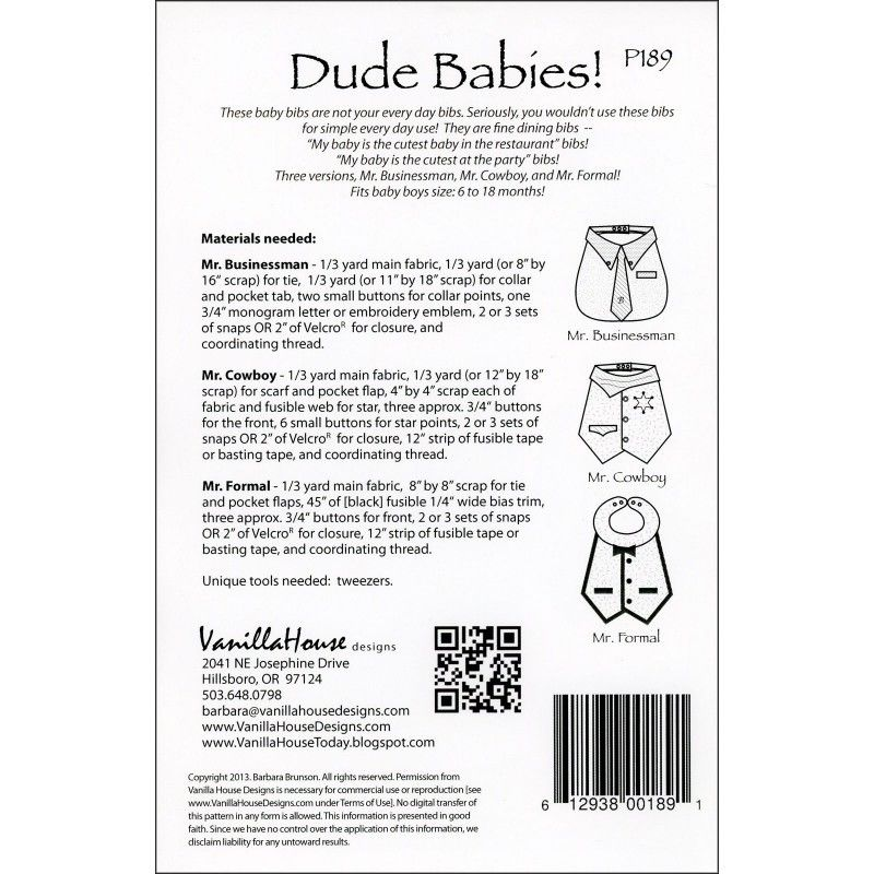 "VANILLA HOUSE ""DUDE BABIES!"" BABY BIBS Sewing Pattern"