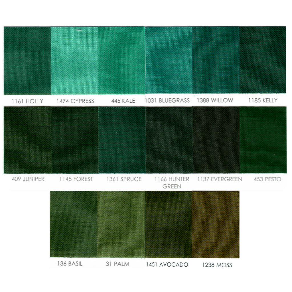 "ROBERT KAUFMAN ""KONA COTTON SOLID"" Green #2 by the 1/2 yard"