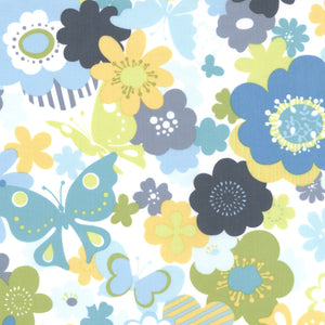 "MODA ""JUST WING IT"" FLORAL Water by 1/2 yard"