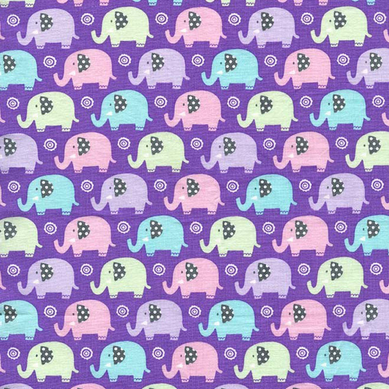 "MICHAEL MILLER ""MINI ELEPHANTS"" Lilac by 1/2 yard"