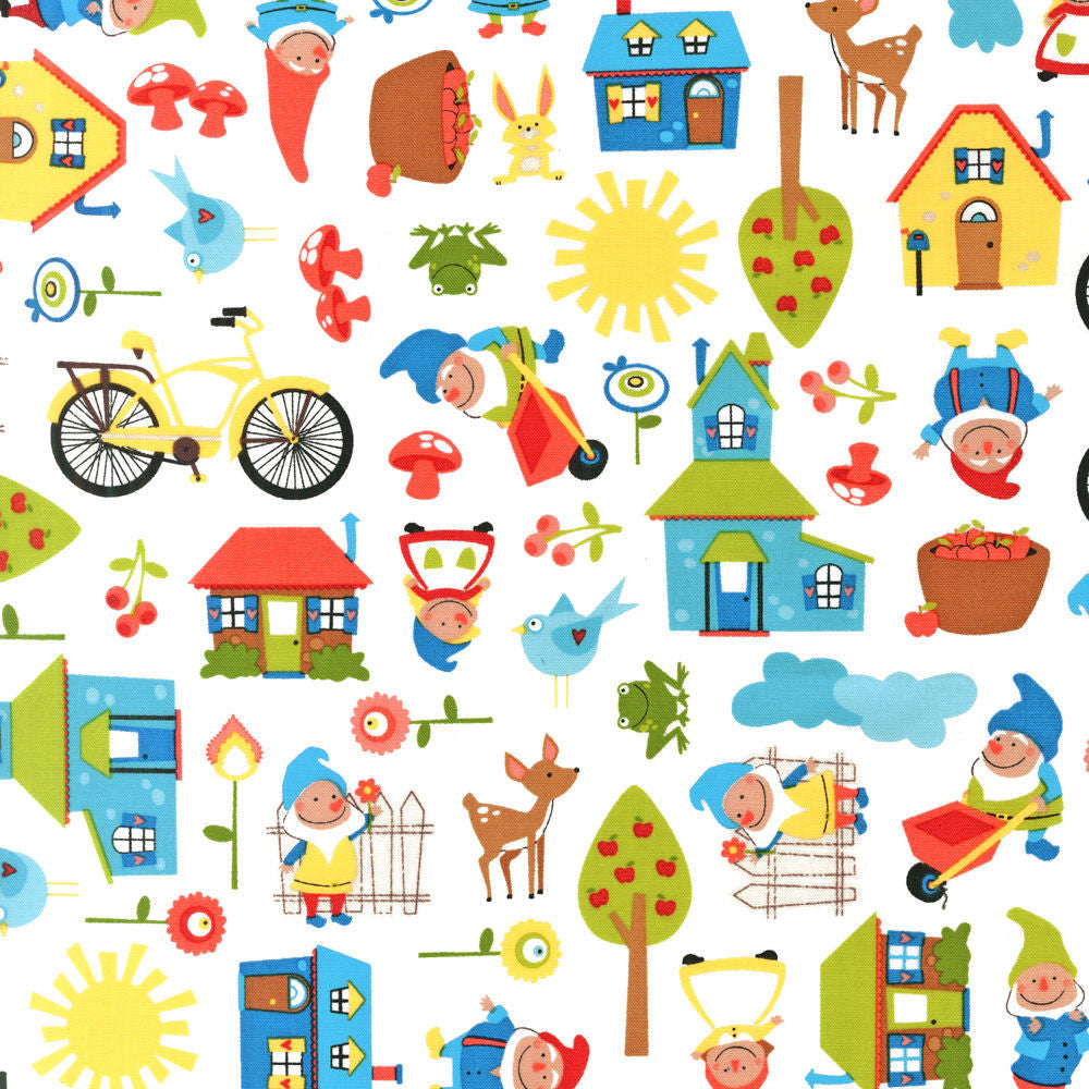 "ROBERT KAUFMAN ""GNOME LIVING"" GNOME TOWN Bright by 1/2 yard"