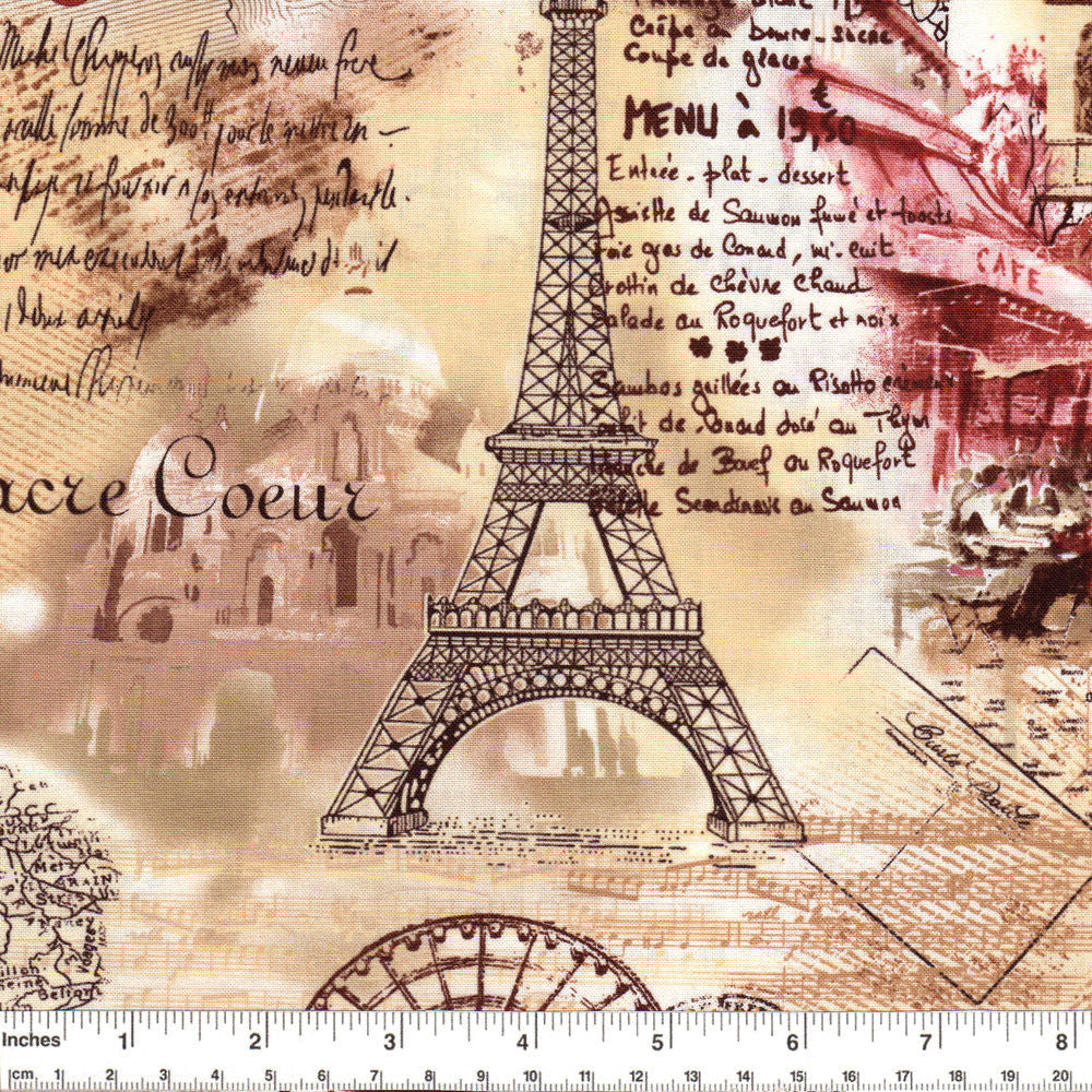 "TIMELESS TREASURES ""PARIS"" Sepia by 1/2 yard"