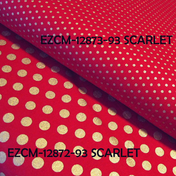 "ROBERT KAUFMAN ""SPOT ON METALLIC"" SCARLET EZCM-12873-93"