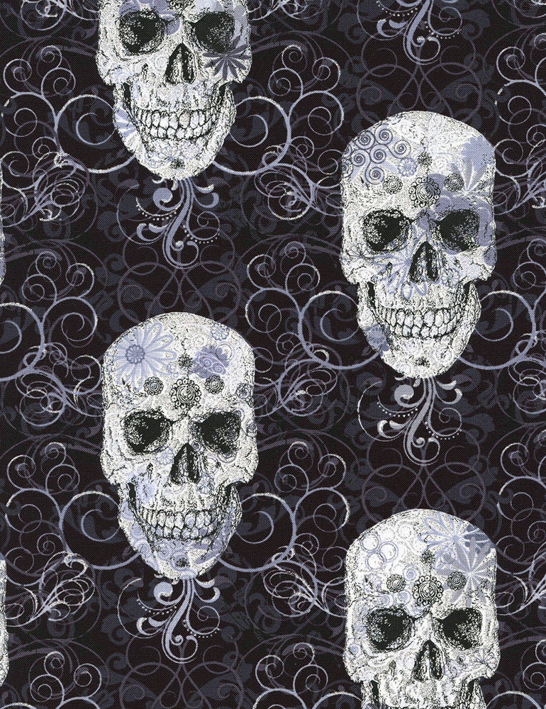 "TIMELESS TREASURES ""FLOURISH SKULL METALLIC"" Black by 1/2 yard"