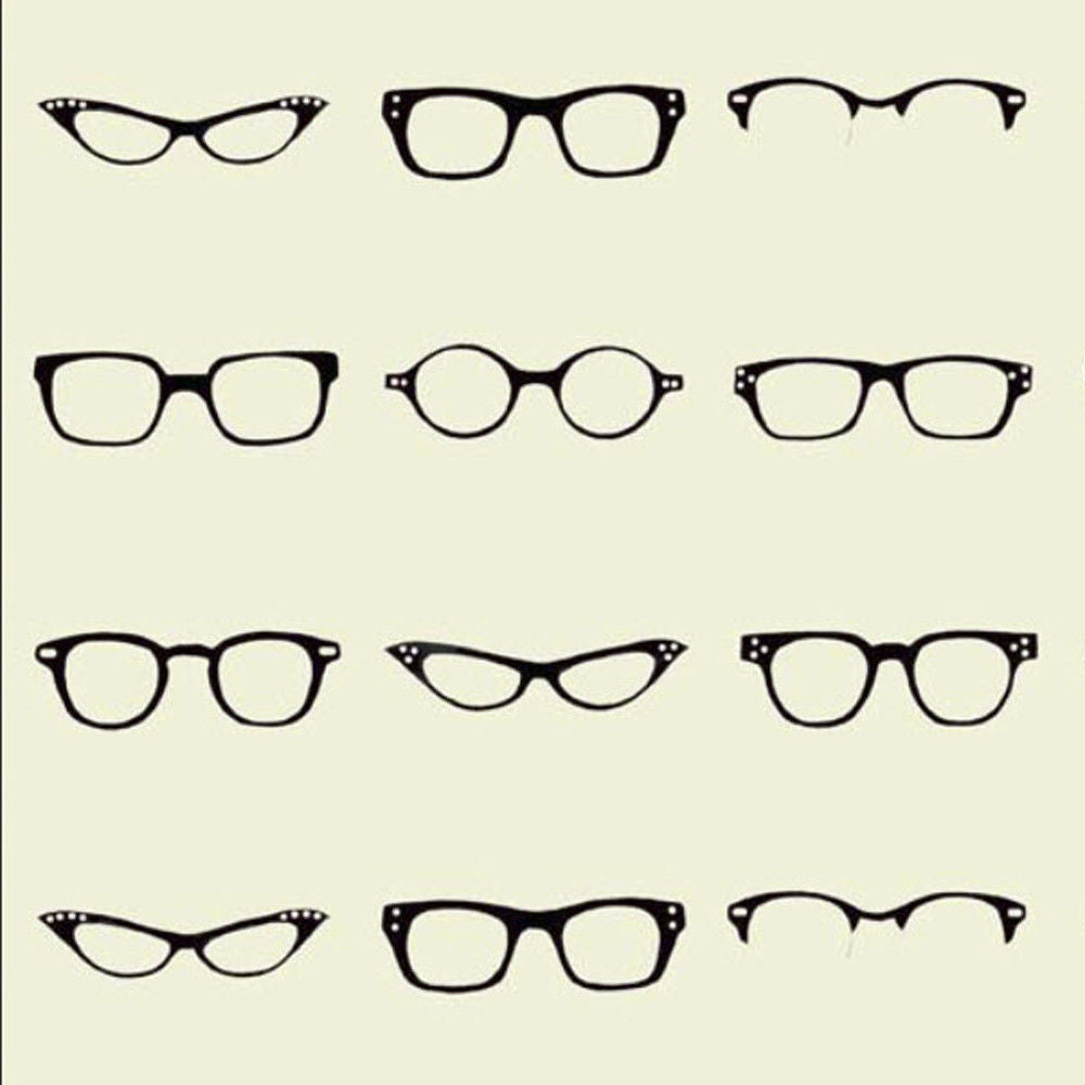 "RILEY BLAKE ""GEEKLY CHIC"" GEEKLY GLASSES Off White by 1/2 yard"