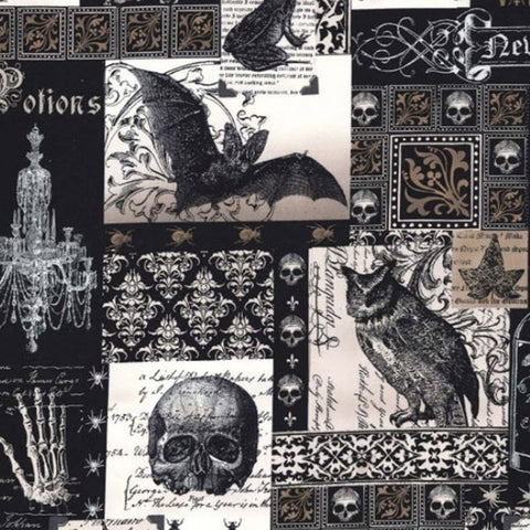 "MICHAEL MILLER ""NEVERMORE COLLAGE"" Black by 1/2 yard"