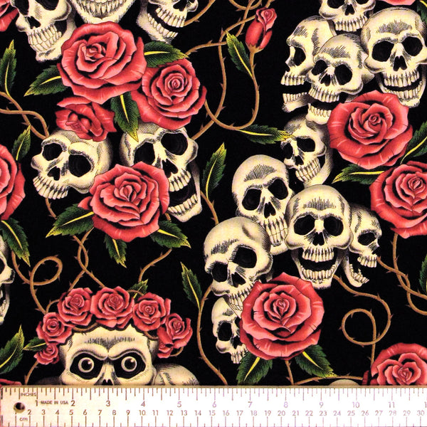 "ALEXANDER HENRY ""THE ROSE TATTOO"" Black Tea 33 inches"