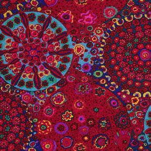 "KAFFE FASSETT ""MILLEFIORE"" GP92 RED  by the 1/2 yard"