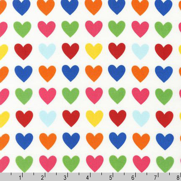 "ROBERT KAUFMAN ""REMIX"" HEARTS Bright 16 inches"