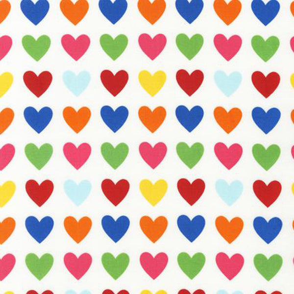 "ROBERT KAUFMAN ""REMIX"" HEARTS Bright 29 inches"