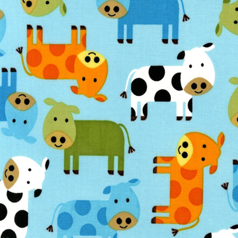 "ROBERT KAUFMAN ""URBAN ZOOLOGIE"" COWS Bermuda BY 1/2 YARD"