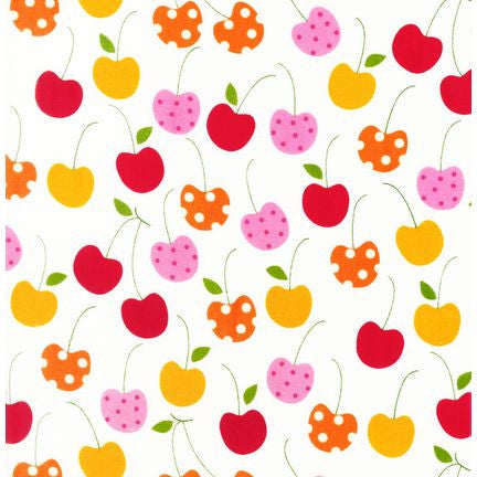 "ROBERT KAUFMAN ""METRO MARKET"" CHERRIES White 26 inches"