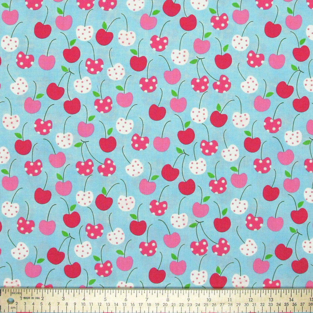 "ROBERT KAUFMAN ""METRO MARKET"" CHERRIES Aqua 22 inches"