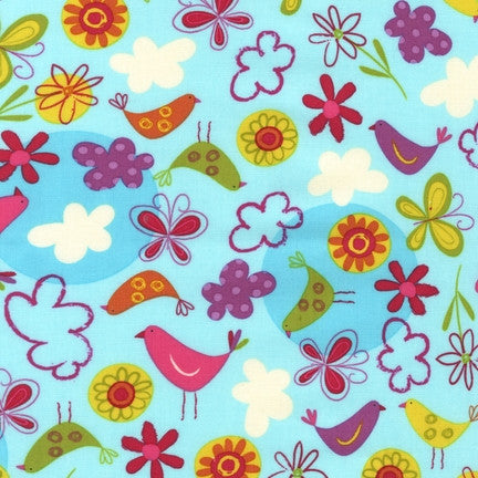 "ROBERT KAUFMAN ""FLY AWAY"" BIRDS IN THE SKY Sunrise by 1/2 yards"