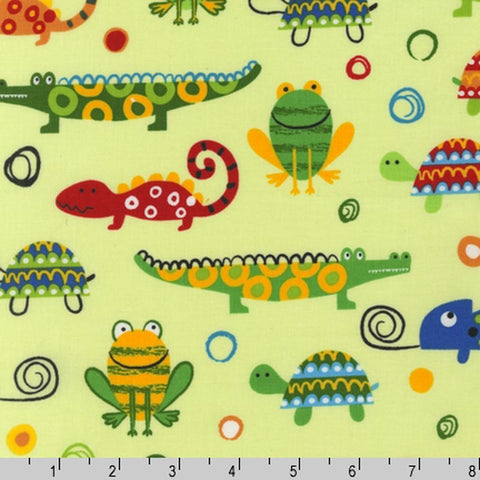 "ROBERT KAUFMAN ""CREATURES AND CRITTERS 2"" REPTILES+ Lime BY 1/2 YARD"