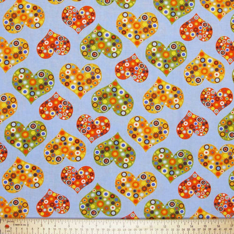 "ROBERT KAUFMAN ""ALL MY HEART"" HEARTS Blueberry by 1/2 yard"