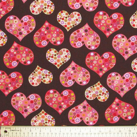 "ROBERT KAUFMAN ""ALL MY HEART"" HEARTS Blush by 1/2 yard"