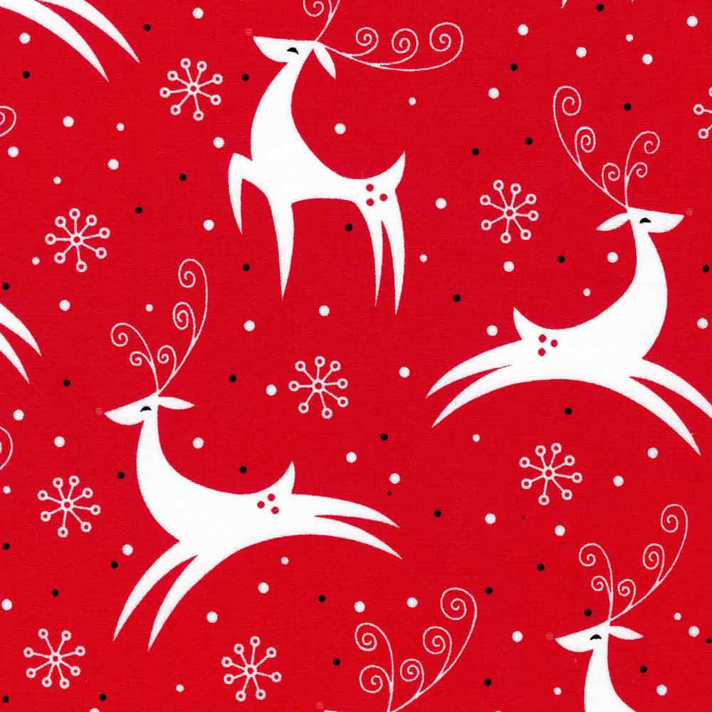 "ROBERT KAUFMAN ""RETRO REINDEER"" Holiday by 1/2 yard"
