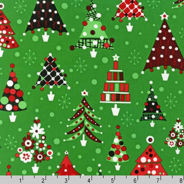Robert Kaufman Retro Christmas Trees Green 33 inches