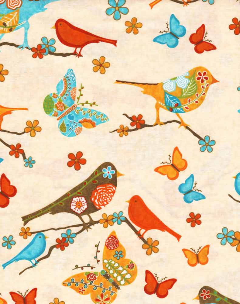 "ROBERT KAUFMAN ""FINALLY FREE"" BIRDS Retro 31 inches"