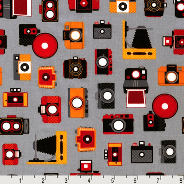 "ROBERT KAUFMAN ""OUT N' ABOUT"" CAMERAS Grey by 1/2 yard"