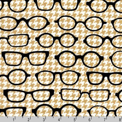 "ROBERT KAUFMAN ""FOX AND THE HOUNDSTOOTH"" EYEGLASSES Tan BY 1/2 YARD"