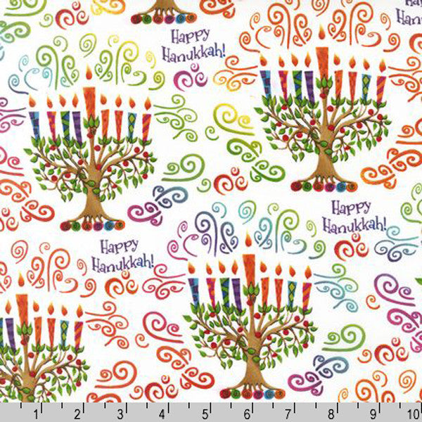 "ROBERT KAUFMAN ""HAPPY HANUKKAH"" CANDELABRA Celebration 34 inches"