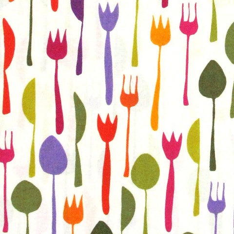 "ROBERT KAUFMAN ""METRO CAFE"" UTENSILS Bermuda 34 inches"