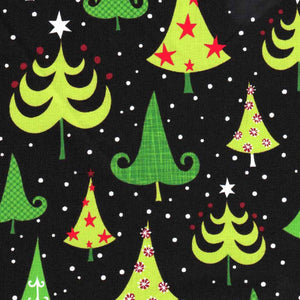 Robert Kaufman O'Tinsel Tree Black by 1/2 yard