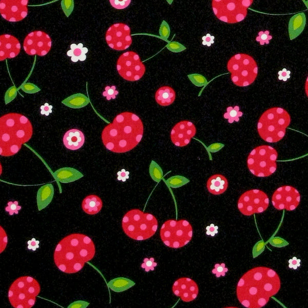 "ROBERT KAUFMAN ""PICNIC PARTY"" CHERRIES Black 29 inches"