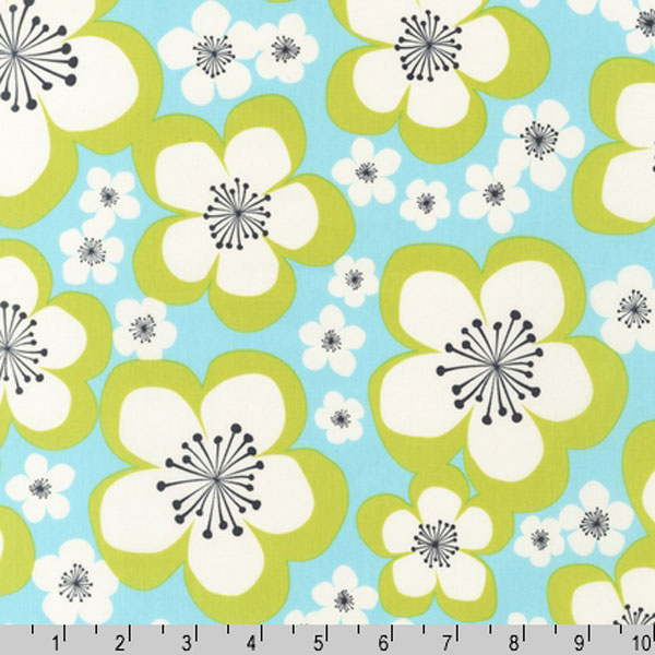 "ROBERT KAUFMAN ""PICK A BUNCH"" BLOOM Aqua 28.5 inches"