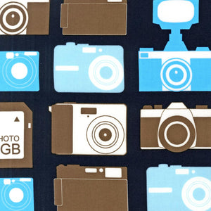"ROBERT KAUFMAN ""BOY TOYS"" CAMERAS Blue by 1/2 yard"