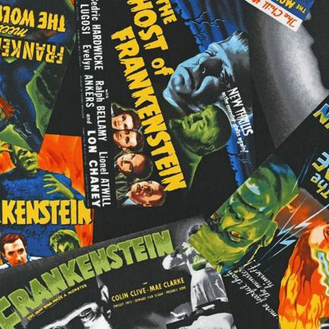 "ROBERT KAUFMAN ""CLASSIC HORROR FILMS"" FRANKENSTEIN Spooky by 1/2 yard"