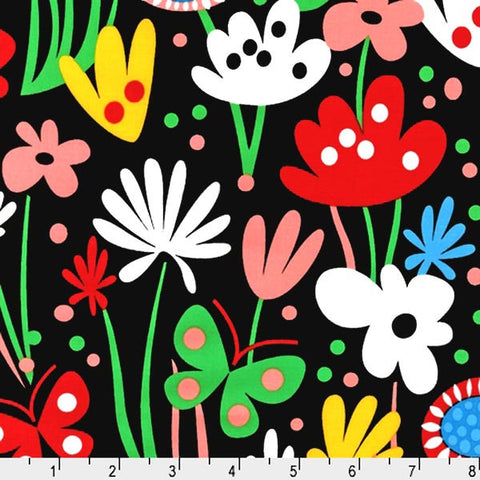 "ROBERT KAUFMAN ""FLIRTY FLOWERS"" BUTTERFLY GARDEN Bright by 1/2 yard"