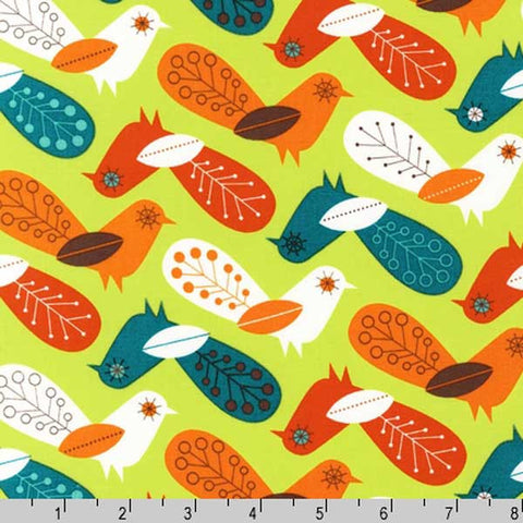 "ROBERT KAUFMAN ""CRITTER COMMUNITY"" BIRDS Retro by 1/2 yard"