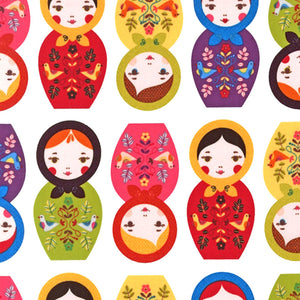 "ROBERT KAUFMAN ""LITTLE KUKLA"" MATRYOSHKA DOLLS Bright 30 inches"