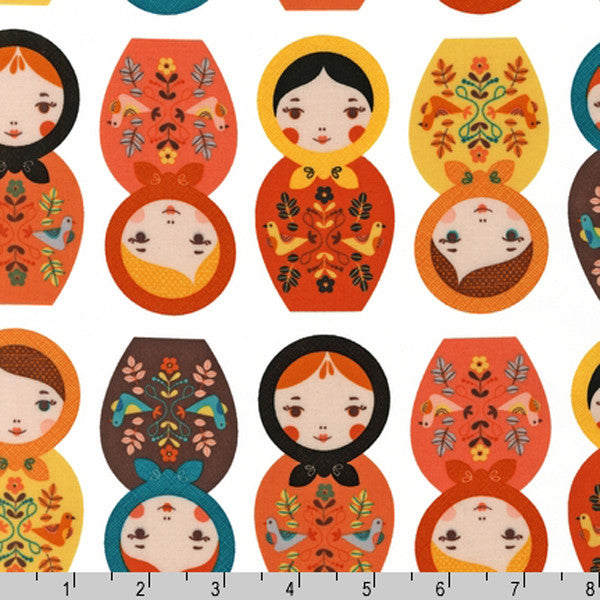 "ROBERT KAUFMAN ""LITTLE KUKLA"" MATRYOSHKA DOLLS Retro 23 inches"