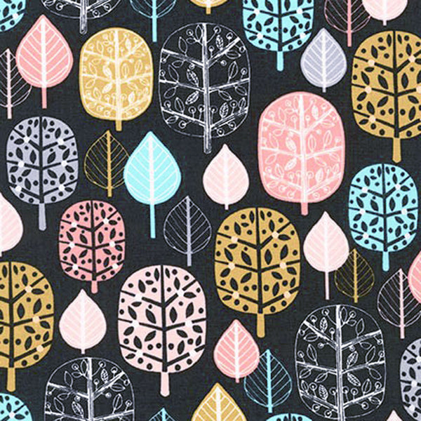 "ROBERT KAUFMAN ""ACORN FOREST"" TREES Sorbet BY 1/2 YARD"