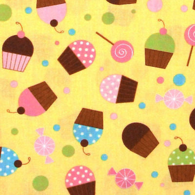 "ROBERT KAUFMAN ""CONFECTIONS"" SWEETS Buttercup by 1/2 yard"
