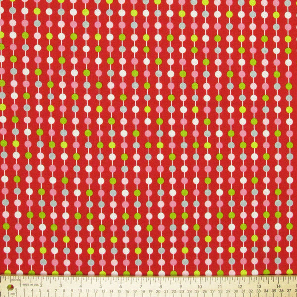 "RILEY BLAKE ""LOVE BIRDS"" STRIPE Cranberry by 1/2 yard"