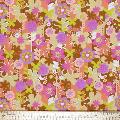 "FREE SPIRIT ""WEEKENDS"" GARDEN WALK Brown by 1/2 yard"